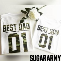 Best DAD Best SON camouflage t-shirts