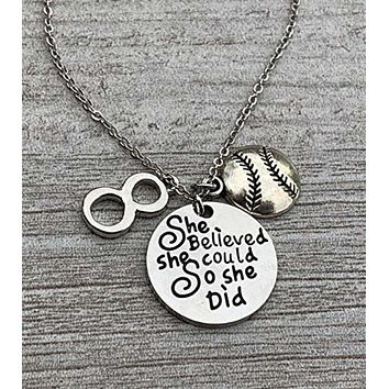 Softball She Believed She Could So She Did Necklace with Number Charm