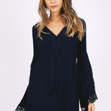 New Rituals Embroidered Dress In Navy