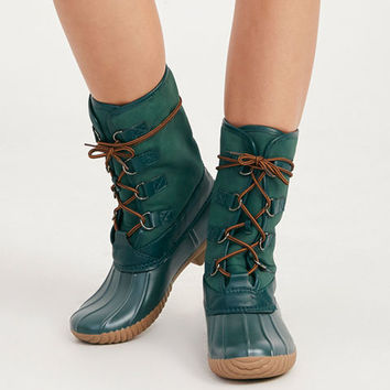 Vegan Leather Duck Boots | Wet Seal