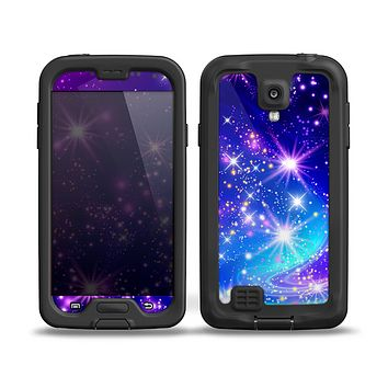 The Glowing Pink & Blue Starry Orbit Skin for the Samsung Galaxy S4 frē LifeProof Case