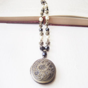 Victorian-Inspired Locket Necklace // Handcrafted, Black Czech Glass Beads and Pearls, Antique Brass, Gothic, Steampunk