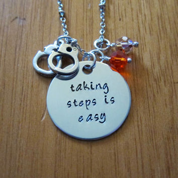 Orange Is The New Black Inspired Necklace. OITNB. Silver colored, Swarovski crystals. Handcuffs.