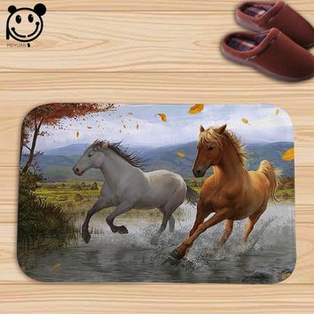 Autumn Fall welcome door mat doormat PEIYAUN Animal Running Horse Flannel  Factory Custom Made Floor Mat Carpets  Throw Rug AT_76_7