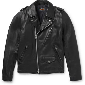 Beams Plus - Slim-Fit Leather Biker Jacket