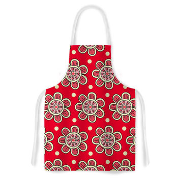 "Sarah Oelerich ""Scarlet Flowers"" Red Floral Artistic Apron"