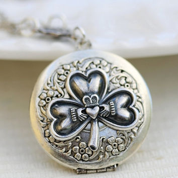 ON SALE Irish locket,Heart,Crown,Claddagh,Antique Locket,Silver Locket,Irish,Lucky, Silver Celtic,Shamrock, Locket,Wedding Necklace