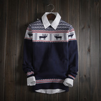 Men's Winter Christmas Deer Fair Isle Knitwear Soft Sweater