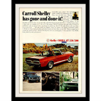 "1967 Shelby Cobra Car Ad ""Beach Babe"" Vintage Advertisement Print"