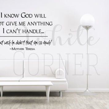 rta239 Lettering Words Quote Mother Teresa Sign God Religion Church Gift  Bedroom Wall Decal Vinyl Sticker Decals Art Decor Design