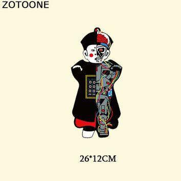 ZOTOONE Chinese Style Zombie Robot Patch Embroidery Iron On Transfer Skull Patches Stickers For Clothes Applique Thermal Press D
