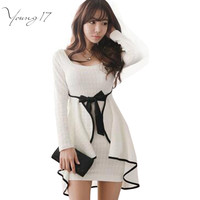 Young17 Sexy Ruffles Bodycon Dress South Korean Style White Women Dress Full Sleeve Autumn Spring Mini Dress Vestidos with Bow