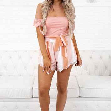 Truth Be Told Off The Shoulder Bodysuit (Blush)
