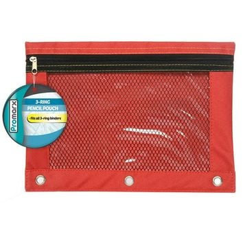 3 Ring Pencil Pouch W Mesh 10x7.5