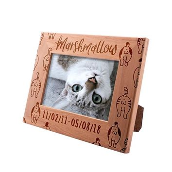 Personalized Picture Frame 4x6 Pet Memorial for Cats, Cute Cat, Custom Engraved with Dog's Name & Years - Cat Owner Gift