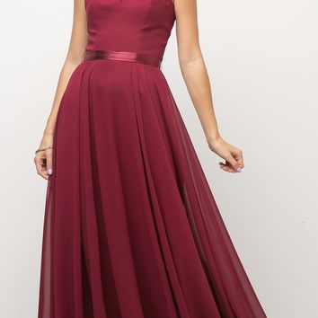 A Line Floor Length Bridesmaid Gown Burgundy Empire Waist