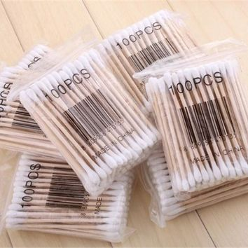 100Pcs High Quality Double Head Health Makeup Cosmetics Ear Clean Jewelry Clean Cotton Swab Stick Health Make Up Stick