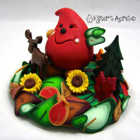 FALL Colors HARVEST Parker StoryBook Scene - Polymer Clay Character Sculpture Figurine