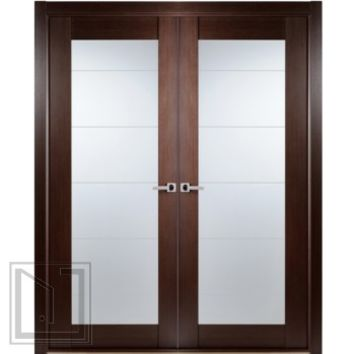 Contemporary African Wenge Interior Double Door Lined Frosted Glass