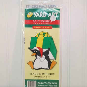 Yard Art Christmas Penguin With Box (c.1998) Do It Yourself Woodworking Pattern, Holiday Decoration, Outdoor Yard Art, Wood Art, Craft