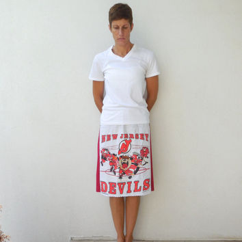 New Jersey Devils T Shirt Skirt / Red / Gray / NHL Hockey / Recycled / Winter / Spring / Drawstring / Cotton / Soft / Fun / For Her / ohzie