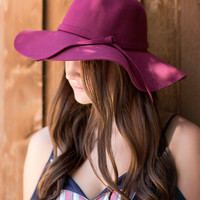 Luxe Wool Floppy Hat-Burgundy