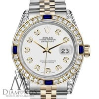 Unisex Rolex 36mm Datejust White Dial with Sapphire & Diamond Bezel 2 Tone Watch