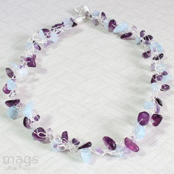 Birthstone Amethyst & Aquamarine Wire Crochet Necklace - Handmade Jewellery by MagsBeadsCreation