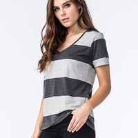 Others Follow Womens Striped Pocket Tee Black/Gray  In Sizes