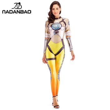 NADANBAO OW Hero Tracer Costume Cosplay Anime Bodysuit Halloween Costumes For Women Plus Size Jumpsuit