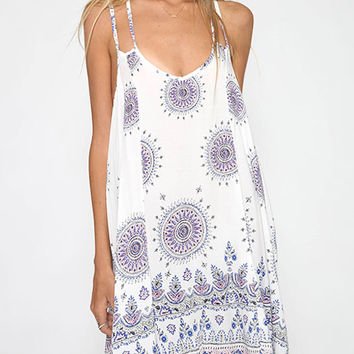 Printed Sleeveless  Summer Swing Mini Slip Dress