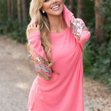 Sequins Elbow Brushed Chevron Tunic Pink