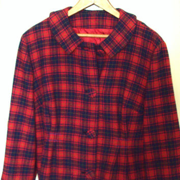 Cropped Jacket Pendleton Wool red navy plaid round collar altered upcycled vintage 60s clothing rustic boho prairie Anthropologie style