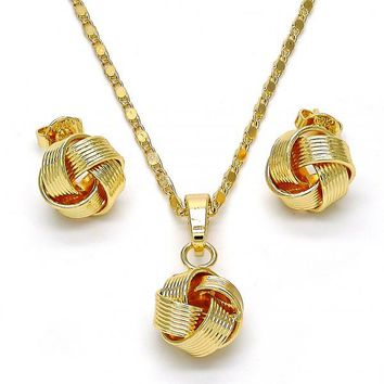 Gold Layered 10.63.0511 Earring and Pendant Adult Set, Love Knot Design, Polished Finish, Golden Tone