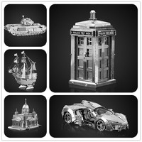 DOCTOR WHO TARDIS 3D Metal assembling model HKNANYUAN CHURCHILL TANK FERRIS WHEEL PUZZLE DIY TOY Creative gifts decoration