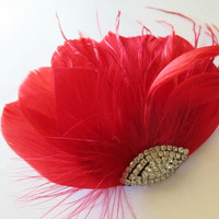 Bridal Hairpiece, Bridal Fascinator, Red Feather Fascinator, Head Piece, Wedding Hair Accessorie