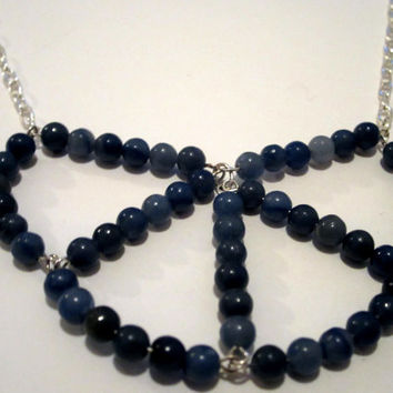 Blue Bib Necklace, Blue Bead Necklace, geometric necklace