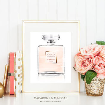 Pink & Gold - Coco Mademoiselle Perfume Bottle Watercolor Pretty Things - Designer Inspired - Instant download print - 8x10
