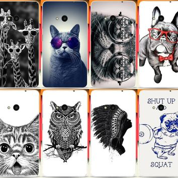 Cool Animal Giraffe Cat Dog Owl Elephant Painted Cases For Microsoft Nokia Lumia 535 N535 Mobile Phone Case Cover Shell Capa