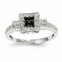 14k White Gold White & Black Diamond Square Ring