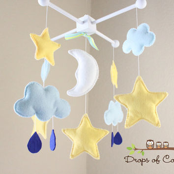 Baby Crib Mobile - Baby Mobile - Twinkle Star Mobile - Stars, Clouds, Moon and Drops Design - Nursery Decor (You can pick your colors)