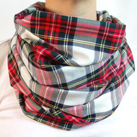 Red Plaid Infinity Scarf,White & Red Tartan, Back to School, Womens Scarf, Oversized Scarf, Circle Scarf,Extra Long Scarf, Fall Winter Scarf