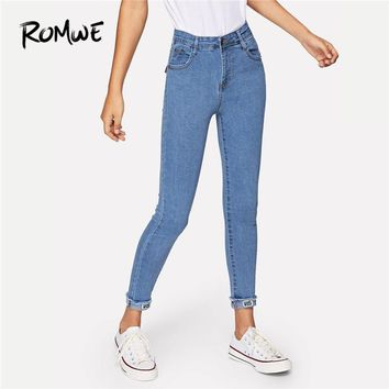 ROMWE Blue Solid Roll-Up Skinny Jeans Women Casual Button Fly High Waist Four Seasons Trousers Plain Tapered Carrot Crop Pants