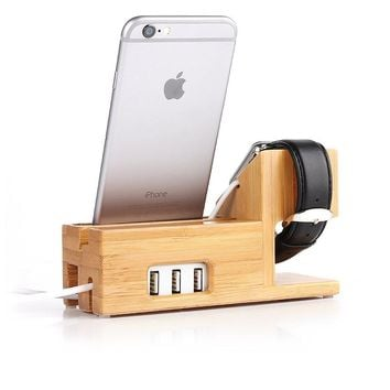 Apple Watch and iphone Charging Station Bamboo Wood Charger Stand Charging dock for iwatch iphone 7 6 6s plus 5 5s 5c with 3 USB Ports