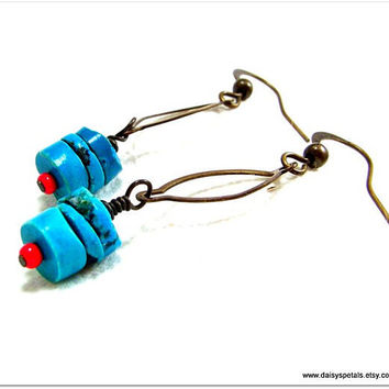 OOAK Handmade, Up-Cycled Turquoise, Red Coral and Antiqued Brass Dangle Earrings