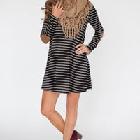 Elbow Patch Striped Dress - Black/Grey