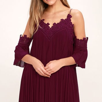 Give Thanks Burgundy Lace Off-the-Shoulder Dress