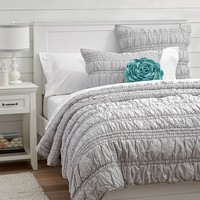 Ruched Quilt + Sham, Light Gray