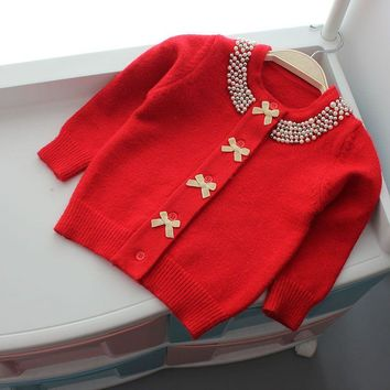 Fashion Kids Girls Cardigans Beading Bowknots Wool Coat Spring Baby Girls Knitwear Sweaters Children Outerwear Coats