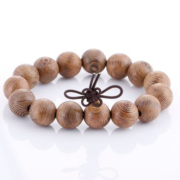 Vintage Natural Stone Wood Beaded Buddha Bracelet Elastic Charms Beads Braclet For Men Women  Meditation Jewelry Pulseras Hombre
